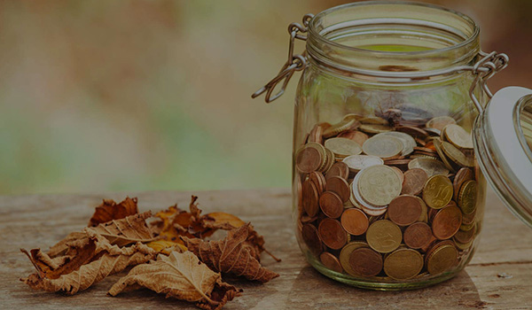 Photo of dried leaves and jar full of pennies on top of a table outside